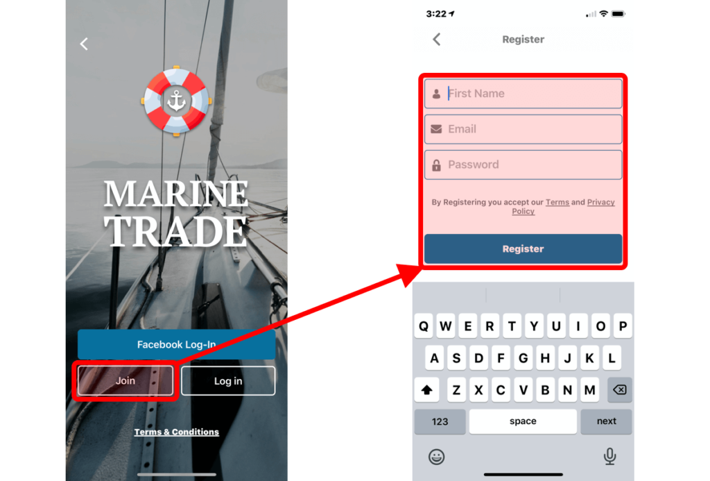 Marine Trade Help Registration Screen IOS Phone